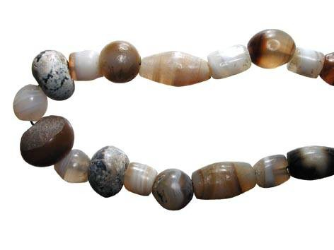 "Ancient Coins - Mixed Bead Necklace.  Near East, I Millennium BC.  Strand with large beads of banded chalcedony of various colours.  20"" strand; restrung.  Some minor chipping, otherwise intact."