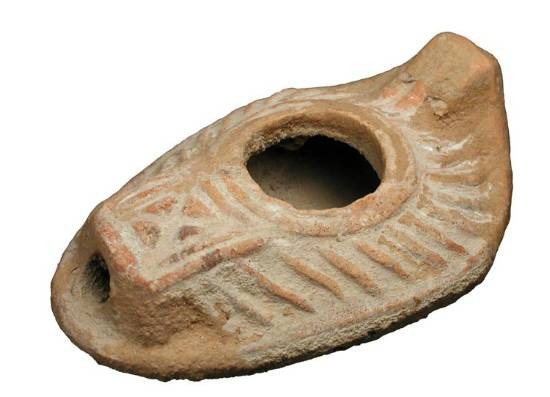 "Ancient Coins - Fired Clay Oil Lamp.   Byzantine, VI-X Century AD. Buff slip on reddish clay lamp of ""teardrop"" shape with stub handle with cross on spout and and rayed decoration on shoulder.  …"