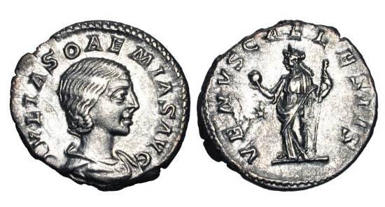 Ancient Coins - JULIA SOAEMIAS, mother of Elagabalus, d. 222 AD.  AR Denarius (2.92 gm).  Draped bust / Venus standing holding apple and sceptre.  RIC.241.  Near Mint.