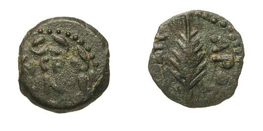 Ancient Coins - JUDAEA, Procurators.  Porcius Festus, 59-62 AD.  Æ Prutah (2.02 gm), yr. 5.  Inscription in wreath / Palm-branch.  Hen.653.  VF+, green patina.