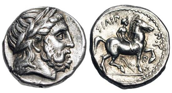 Ancient Coins - KINGDOM of MACEDON.  Philip II, 359-336 BC.  AR Tetradrachm of Amphipolis, 323-316 BC.  Laureate head of Zeus / Jockey crowning winning horse with long palm.  Toned VF+.