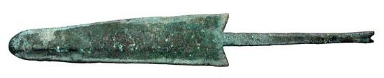 "Ancient Coins - Bronze Age Point.  Luristan, XII-IX Century BC.  Spear point with tang, fashioned from part of knife-blade.  Tang and barbs recut.   6.75"" overall length."