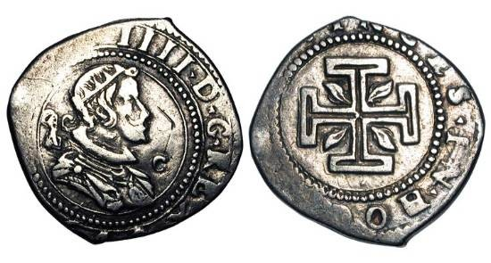 World Coins - ITALY, Naples.  Philip IV, 1621-1665 AD.  AR 4 Carlini (4.80 gm).  Radiate armoured bust / Cross of Jerusalen with flames in angles.  Heiss.9.  Toned VF.  Rare.
