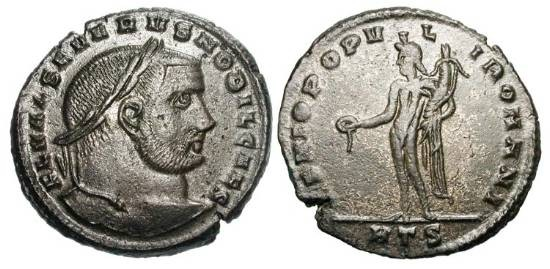 Ancient Coins - SEVERUS II, Caesar 305-306 AD.  Silvered Æ Follis of Heraklea.  Laureate head / genius standing holding patera and cornucopia.  RIC.25.  XF, some toned silvering.  Rare.