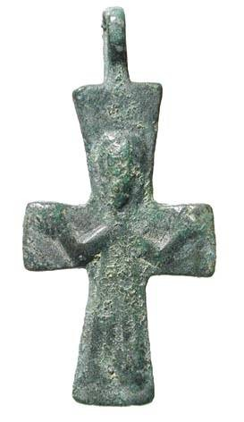 "Ancient Coins - Bronze Crucifix.  Byzantine, X-XII Century AD.  Cross with Christ wearing long robe.  1.75"" high with suspension loop. Worn but intact with green patina."