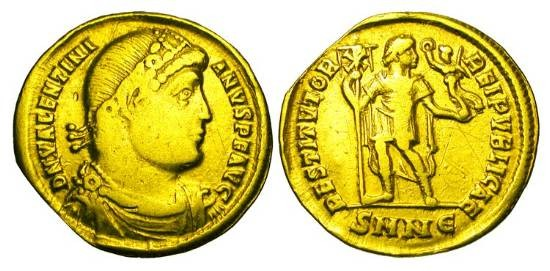 Ancient Coins - VALENTINIAN I, 364-375 AD.  Gold Solidus (4.22 gm) of Nicomedia.  Diademed draped and cuirassed bust / Emperor standing holding labarum & Victory.  RIC.2.2 (RR).  aVF.  Very Rare.