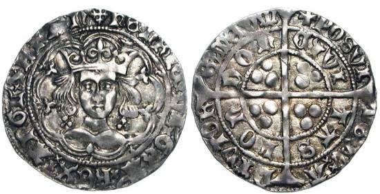 World Coins - ENGLAND.  Henry VI, 1422-1461 AD.  AR Groat, trefoil issue of London.  Crowned bust facing in tressure, lis in spandrels / Long cross.  S.1909.   Toned aXF.  Scarce issue.