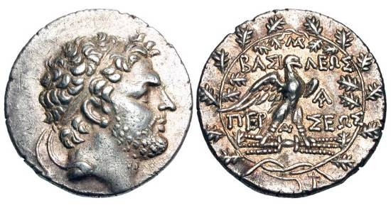 Ancient Coins - KINGDOM of MACEDON.  Perseus, 178-168 BC.  AR Tetradrachm.  Diademed bearded head / Eagle with spread wings standing on thunderbolt, all in wreath.  SNG.Cop.1269v.  Toned aXF.