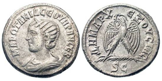 Ancient Coins - SYRIA, Antioch.  Otacilia Severa, wife of Philip I, 244-249 AD.  Billon Tetradrachm (13.13 gm), 244,  Diademed bust on crescent left / Eagle standing on a palm branch with wreath i