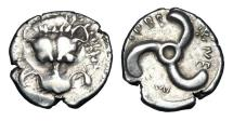 Ancient Coins - LYCIAN DYNASTS.  Perikle, 380-360 BC. AR Third Stater.
