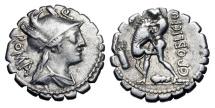 Ancient Coins - ROMAN REPUBLIC.  C. Poblicius Q.f., 80 BC.  AR Serrate Denarius …