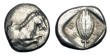 Ancient Coins - THESSALY, Thessalian League.  470-460 BC.  AR Hemidrachm.