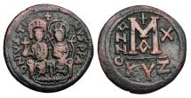Ancient Coins - BYZANTINE EMPIRE.  Justin II, 565-578 AD.  AE Follis.
