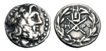 Ancient Coins - ACHAEAN LEAGUE, Megara.  196-146 BC.  AR Hemidrachm