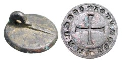 "World Coins - Bronze Seal Matrix.  Spain, XIII-XIV Century AD.  Round seal of Fernando Rodriguez (S FERNAN RODRIGES), 1.2"" diameter with long cross.  Intact.  Choice and rare."