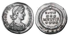 Ancient Coins - CONSTANTIUS II, 337-361 AD.  AR Broad Siliqua.  x Clain-Steffanelli collection.