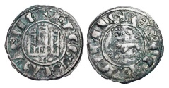 World Coins - SPAIN, Castille and Leon.   Fernando IV el Emplazado, 1295-1312 AD.  Billon Pepion (0.88 gm) of Burgos.  Castle / Lion.  FAB.319  Toned VF.