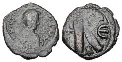 Ancient Coins - BYZANTINE EMPIRE.  Justin I and Justinian I, Joint reign, April 4-August 1, 527 AD.  Æ Half Follis.  Rare.