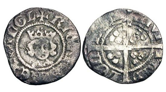 World Coins - ENGLAND.  Richard II, 1377-1399 AD.  AR Halfpenny (0.58 gm) of London.  Crowned bust facing / Long cross with three pellets in each angle.  S.1699.   Toned aVF.