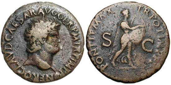 "Ancient Coins - NERO, 54-68 AD.  Æ As (11.10 gm).  Laureate head, cmk. / Nero walking playing lyre.  RIC.454.  VF, brown patina.  Scarce.  ""Nero fiddles while Rome burns"""
