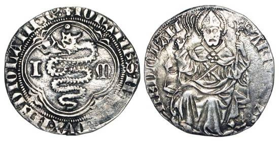 World Coins - ITALY, Milan.  Giovanni Maria Visconti, 1402-1412 AD.  AR Grosso.  Biscia in quatrefoil / Saint Ambrose enthroned facing, holding crosier and whip.  N&V.111.  Crippa.2  CNI.2
