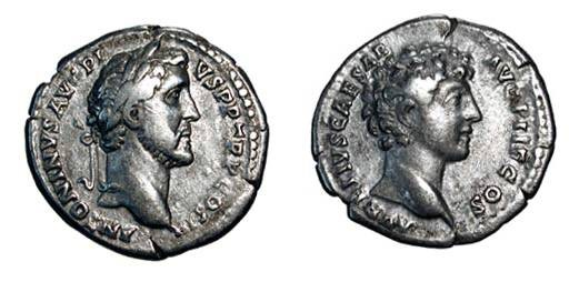 Ancient Coins - ANTONINUS PIUS and MARCUS AURELIUS, 139-161 AD.  AR Denarius (3.41 gm).  Laureate head of Antoninus / Bare head of Marcus.  RSC.15.  Toned VF.