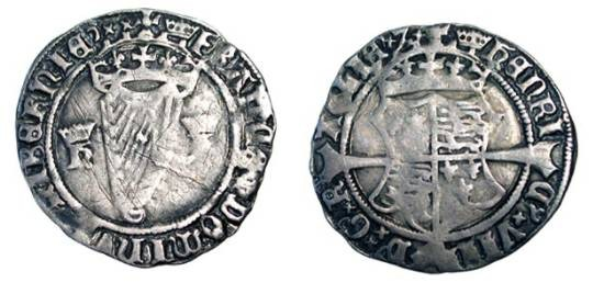 World Coins - IRELAND.  Henry VIII, 1509-1547 AD.  AR Groat (2.38 gm), with Jane Seymour, 1536/7. Crowned shield of arms on long cross / Crowned harp.  S.6473. Toned aVF, old light scratches.