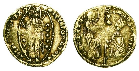 World Coins - CHIOS or Crusader Levant, XIV Century AD.  Pale Gold Ducat.  Imitation of Venice, Andrea Dandulo.  St. Mark presenting banner to doge / Christ in nimbus.  VF, weak spots.  …
