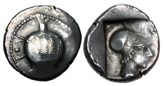 Ancient Coins - PAMPHYLIA, Side.  490-400 BC.   AR Stater (10.69 gm).   Pomegranate / Helmeted head of Athena in incuse square.  SNG.BN.628.  Toned VF.  Very Rare.