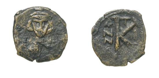 Ancient Coins - BYZANTINE EMPIRE.  Justinian II, first reign, 685-695 AD.  Æ Half Follis of Constantinople,  yr. 2.  Crowned armoured bust with orb / Large K.  S.1262.  Crude aVF.  Rare.