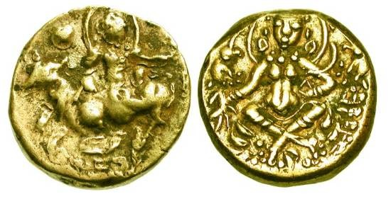 Ancient Coins - INDIA, Gupta.  Dynasties of Gauda.  Mahasmanta Sasanka Deva, 606-619 AD.   Base Gold Stater (5.67 gm).  King on bull / Goddess Lakshmi seated.  MAC.4925.  aXF.  Scarce.