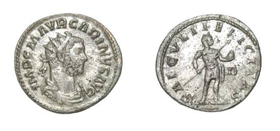 Ancient Coins - CARINUS, Caesar, 282-283 AD.  Silvered Æ Antoninianus (3.45 gm) of Lugdunum.  Radiate draped and cuirassed bust / Emperor standing holding orb and spear.  RIC.214.  Toned aXF.