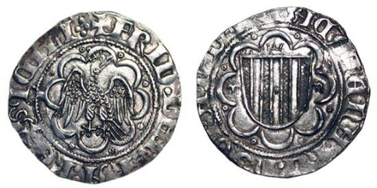 World Coins - ITALY, Kingdom of Sicily.  Federico III, 1296-1337 AD.  AR Pierreale  Crowned eagle standing in tressure / Shield of arms of Aragon in tressure.  Biaggi.1311.  Var.84.  Scarce.