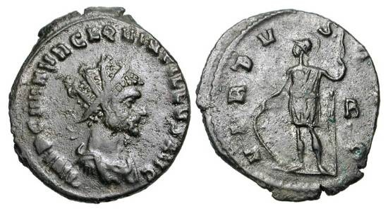 Ancient Coins - QUINTILLUS, 270 AD.  Æ Antoninianus (3.71 gm) of Rome.  Radiate draped bust / Virtus standing holding spear and shield.  RIC.36.  VF+, brown black patina.