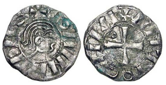 World Coins - ANTIOCH.  Bohemund III, 1149-1201 AD.  AR Denier (0.81 gm), 1149-63, cl. B.  Bare head / Cross, annulet in first angle.  MPS.26.  Toned VF.
