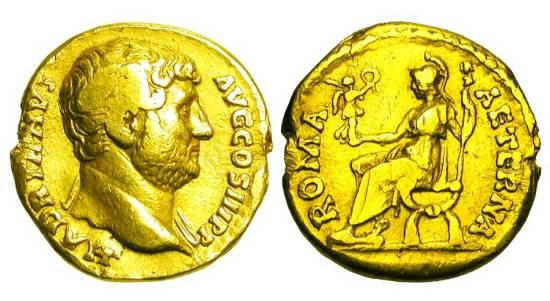 Ancient Coins - HADRIAN, 117-138 AD.  Gold Aureus (6.87 gm).  Bare head / Roma seated holding Victory and spear.  RIC..263a.  aVF, edge nick from mount removed.