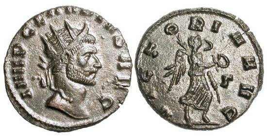 Ancient Coins - CLAUDIUS II GOTHICUS, 268-270 AD.  Æ Antoninianus, Rome.  Radiate, draped and cuirassed bust / Victory standing holding wreath and palm.  RIC.107.  Near Mint, dark brown patina.