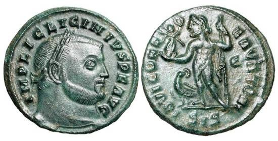 Ancient Coins - LICINIUS I, 308-324 AD.  Æ Follis (3.59 gm) of Siscia, 313.  Laureate head / Jupiter standing holding Victory and sceptre, eagle at feet.  RIC.229a.  Near Mint, dark green patina.