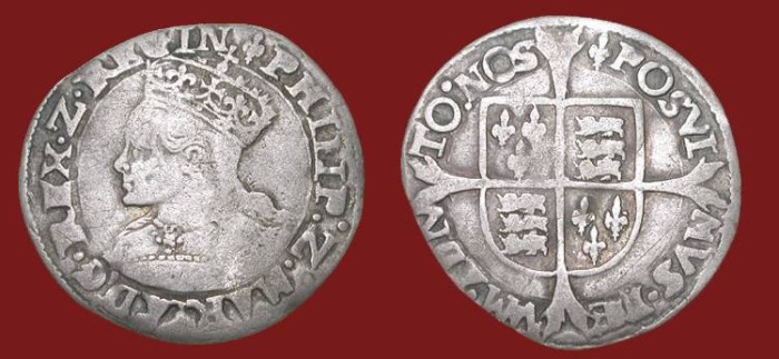 World Coins - ENGLAND.  Philip and Mary, 1554-1558 AD.  AR Groat of London, i. m. Lis.  Crowned draped bust.