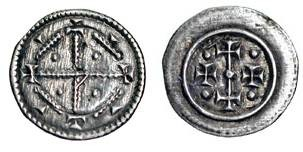 World Coins - HUNGARY.  XII Century AD.  AR Denar (0.19 gm).  Cross  crosslet in lozenge / Bar between crosses in small circle.  Husz.152.  Toned XF.