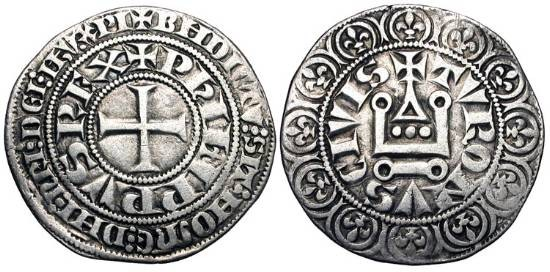 World Coins - FRANCE.  Philippe IV le Bel, 1285-1314 AD.  AR Gros tournois a l'O rond (3.88 gm), 1285-90.  Cross / Châtel tournois.  DuP.213b  Toned VF.