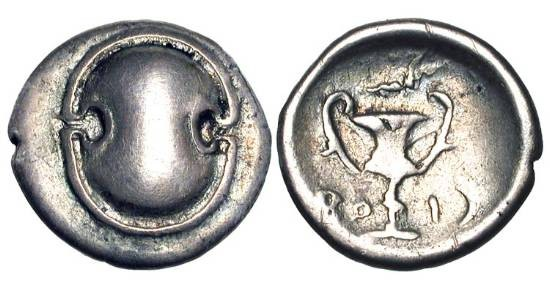 Ancient Coins - BOEOTIA, Federal Coinage, 395-340 BC.  AR Hemidrachm (2.26 gm).  Boeotian shield / Kantharos, club above.  BCD.40.   Toned VF.  Celebrates the liberation of the Cadmeia.