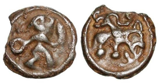 Ancient Coins - BELGIC GAUL.  I Century  BC.  Potin Unit (4.26 gm).  Man advancing with torc and spear / Beast standing, fibula above.  BMC.489.  VF, earthy dark brown patina, ragged flan.