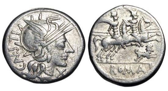 Ancient Coins - ROMAN REPUBLIC.  C. Antestius, 146 BC.  AR Denarius (3.86 gm).  Helmeted head of Roma / The Dioscuroi riding holding lances, dog below.  Antestia.1.  Cr.219/1e.  VF