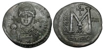 Ancient Coins - BYZANTINE EMPIRE.  Justinian I, 527-565 AD.  Æ Large Module Follis.