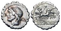 Ancient Coins - ROMAN REPUBLIC.  L. Scipio Asiagenus, 106 BC.  AR Denarius