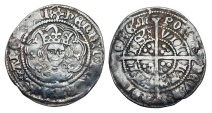 World Coins - ENGLAND.   Henry VI  1422-1461 AD.    AR Half Groat (1.78 gm) of Calais, Annulet issue.  Crowned bust facing in tressure / Cross with pellets.  S.1840.  Toned VF.