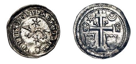 World Coins - SLAVONIA. Stefan V, 1270-1272 AD with Ban Joachim Pectari.  AR Banovic (0.83 gm)of Zagreb.  Martin, star above and below / Cross flanked by busts of King and Ban.  Reng.120.  aXF.