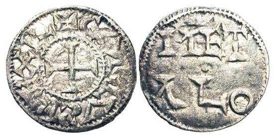 World Coins - FRANCE, Poitou.  X-XI Centuries AD.  AR Denier (1.02 gm) of Melle.  Cross / MET ALO.  D.906.  Toned VF+.