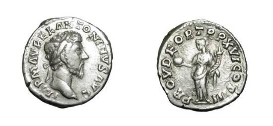 Ancient Coins - MARCUS AURELIUS, 161-180 AD.  AR Denarius (3.39 gm) of 161-2 AD.  Laureate head / Provendentia standing holding globe and cornucopiae.  RSC.518.  RIC.51.  Toned VF+.